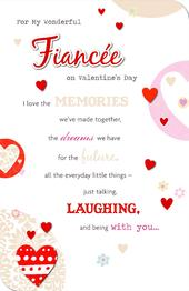 For My Wonderful Fiancee Embellished Valentine's Day Greeting Card