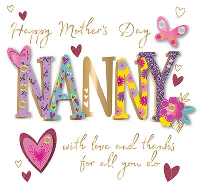 Nanny With Love Happy Mother's Day Greeting Card