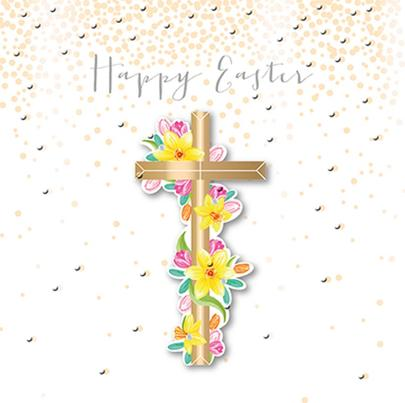 Cross & Flowers Happy Easter Greeting Card