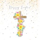 Cross & Flowers Happy Easter Greeting Card