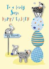 To A Lovely Son Happy Easter Greeting Card