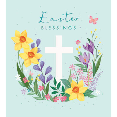 Pack of 5 Flowers Easter Blessings Greetings Cards