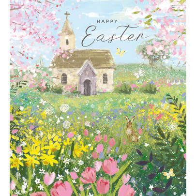 Pack of 5 Church In Spring Happy Easter Greetings Cards