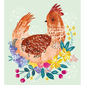 Pack of 5 Spring Hen Happy Easter Greetings Cards