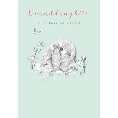 Granddaughter With Love Cute Bunny Easter Greeting Card