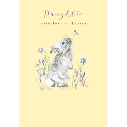 Daughter With Love Cute Bunny Easter Greeting Card