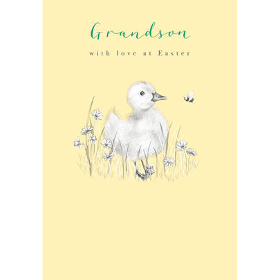 Grandson With Love Cute Duckling Easter Greeting Card