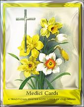 Pack of 4 Easter Daffodils Mini Medici Happy Easter Greeting Cards
