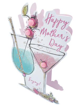 Cocktails Happy Mother's Day 3D Paper Dazzle Greeting Card