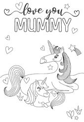 Unicorn Mummy Colour-Me-In Mother's Day Greeting Card With Stickers