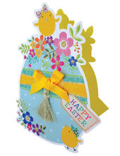 Easter Egg Shaped Happy Easter 3D Paper Dazzle Greeting Card