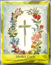 Pack of 4 Cross & Flowers Mini Medici Happy Easter Greeting Cards