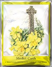 Pack of 4 Celtic Cross Mini Medici Happy Easter Greeting Cards