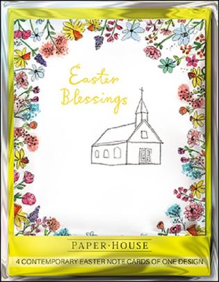 Pack of 4 Easter Blessings Mini Happy Easter Greeting Cards