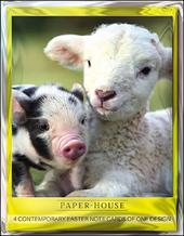 Pack of 4 Lamb & Piglet Mini Happy Easter Greeting Cards