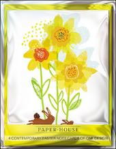 Pack of 4 Daffodils & Bunnies Mini Happy Easter Greeting Cards