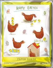Pack of 4 Chicks & Hens Mini Happy Easter Greeting Cards