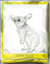 Pack of 4 Cute Rabbit Mini Happy Easter Greeting Cards