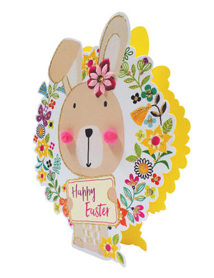 Easter Bunny Shaped Happy Easter 3D Paper Dazzle Greeting Card