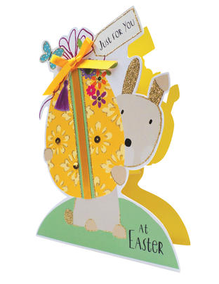 Bunny & Egg Shaped Happy Easter 3D Paper Dazzle Greeting Card
