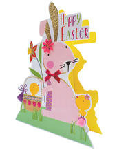 Pink Bunny Shaped Happy Easter 3D Paper Dazzle Greeting Card