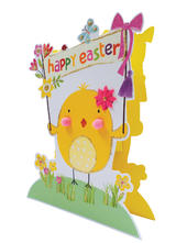 Easter Chick Shaped Happy Easter 3D Paper Dazzle Greeting Card