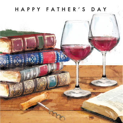 Books & Wine Happy Father's Day Greeting Card