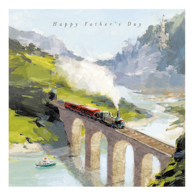 Steam Train Painting Happy Father's Day Greeting Card