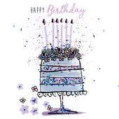 Cake & Candles Happy Birthday Hand-Finished Greeting Card