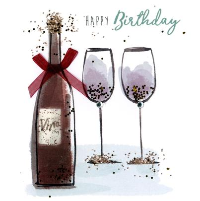 Wine & Glasses Happy Birthday Hand-Finished Greeting Card