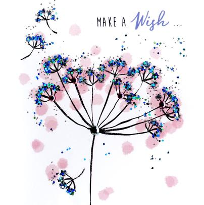 Make A Wish Happy Birthday Hand-Finished Greeting Card