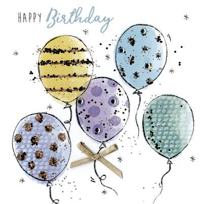 Birthday Balloons Happy Birthday Hand-Finished Greeting Card