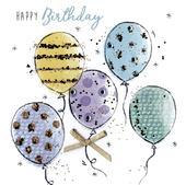 Birthday Balloons Happy Birthday Hand-Finished Greeting Card