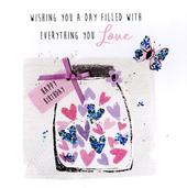 Wishing You A Day Happy Birthday Hand-Finished Greeting Card
