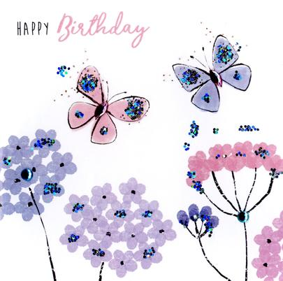 Butterflies Happy Birthday Hand-Finished Greeting Card