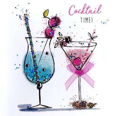 Cocktail Time Happy Birthday Hand Finished Greeting Card Cards