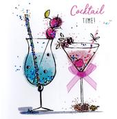Cocktail Time Happy Birthday Hand-Finished Greeting Card