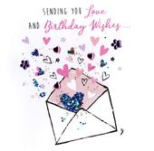 Sending You Love Happy Birthday Hand-Finished Greeting Card