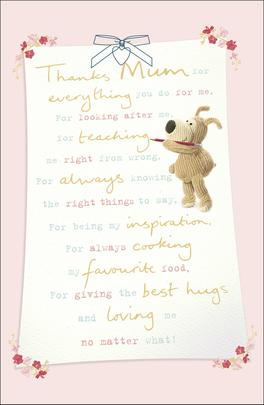 Boofle Thanks Mum For Mother's Day Greeting Card