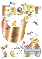 Chicken & Eggs Happy Easter Greeting Card
