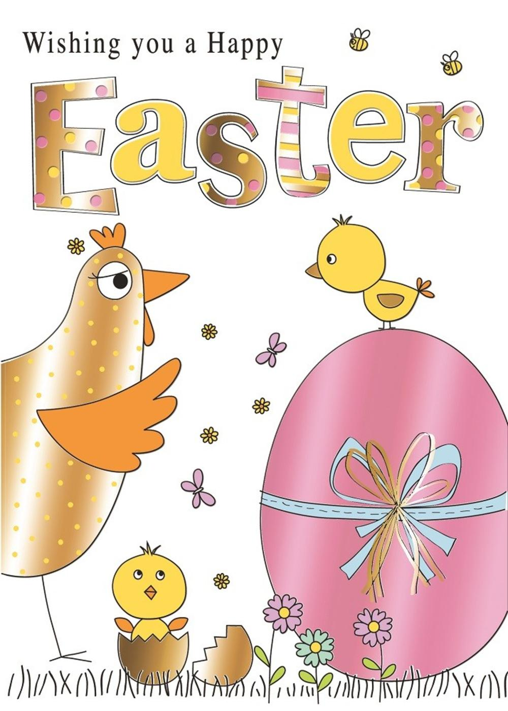 Chicken Chicks & Eggs Happy Easter Greeting Card