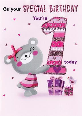 You're 1 Today Girls 1st Birthday Greeting Card
