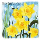 To A Special Couple Daffodil & Bees Easter Greeting Card