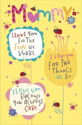 Cute Mummy I Love You Happy Mother's Day Card