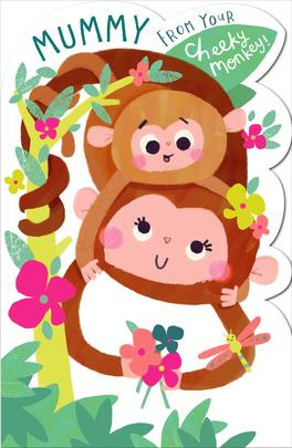 Mummy From Your Cheeky Monkey Shaped Happy Mother's Day Card