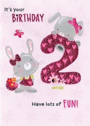It's Your Birthday Girls 2nd Birthday Greeting Card