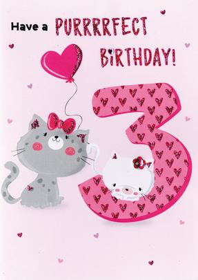 Purrrrfect Birthday Girls 3rd Birthday Greeting Card