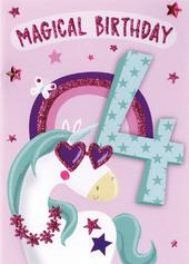 Magical Birthday Girls 4th Birthday Greeting Card