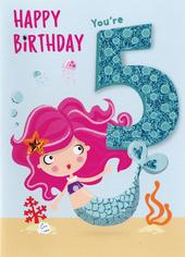 Mermaid Birthday Girls 5th Birthday Greeting Card