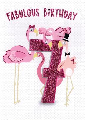 Fabulous Birthday Girls 7th Birthday Greeting Card
